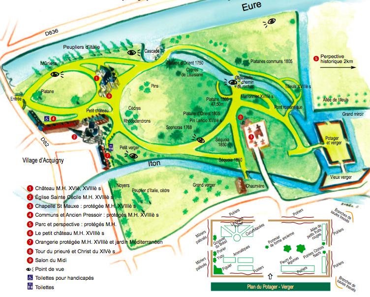 Plan du parc actuel du Château d'Acquigny - Normandie